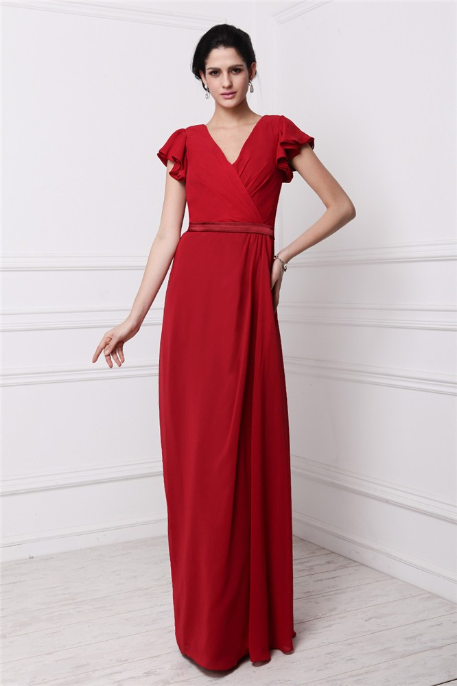 Sheath/Column V-neck Short Sleeve Chiffon Dress