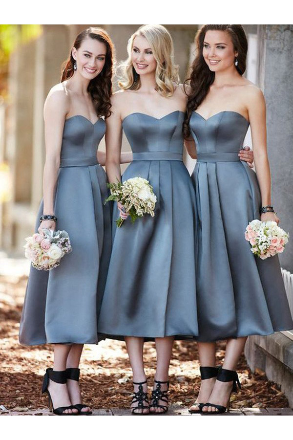 A-line Sweetheart Sleeveless Satin Dress