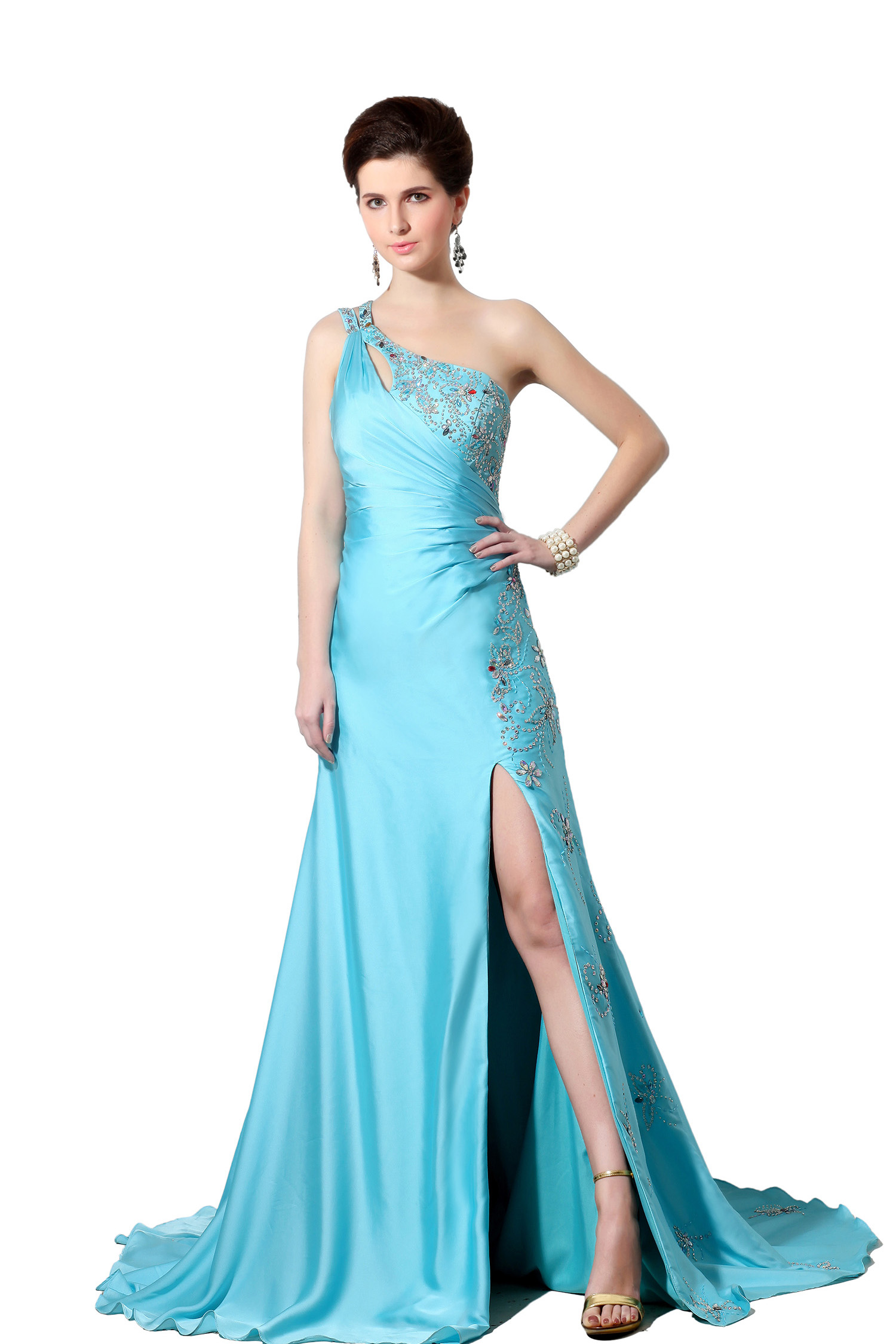 A-line One Shoulder Sweep/Brush Train Stretch Satin Evening Dress
