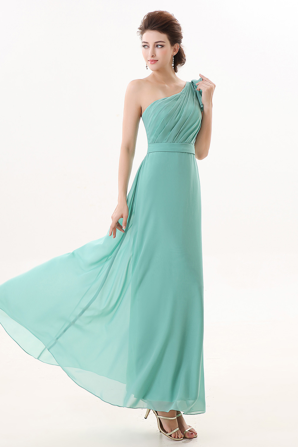 Sheath/Columnn One Shoulder Ankle-length Chiffon Bridesmaid Dress