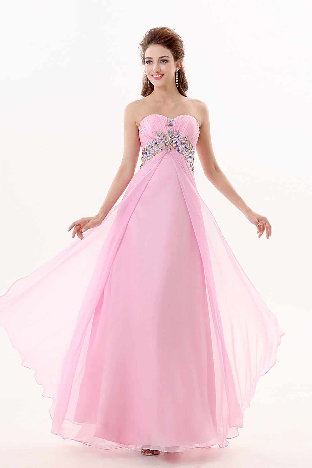 A-line Strapless Floor-length Chiffon Evening Dress