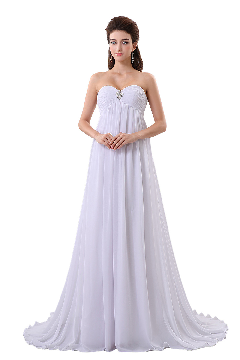 A-line Sweetheart Sweep/Brush Train Chiffon Wedding Dress