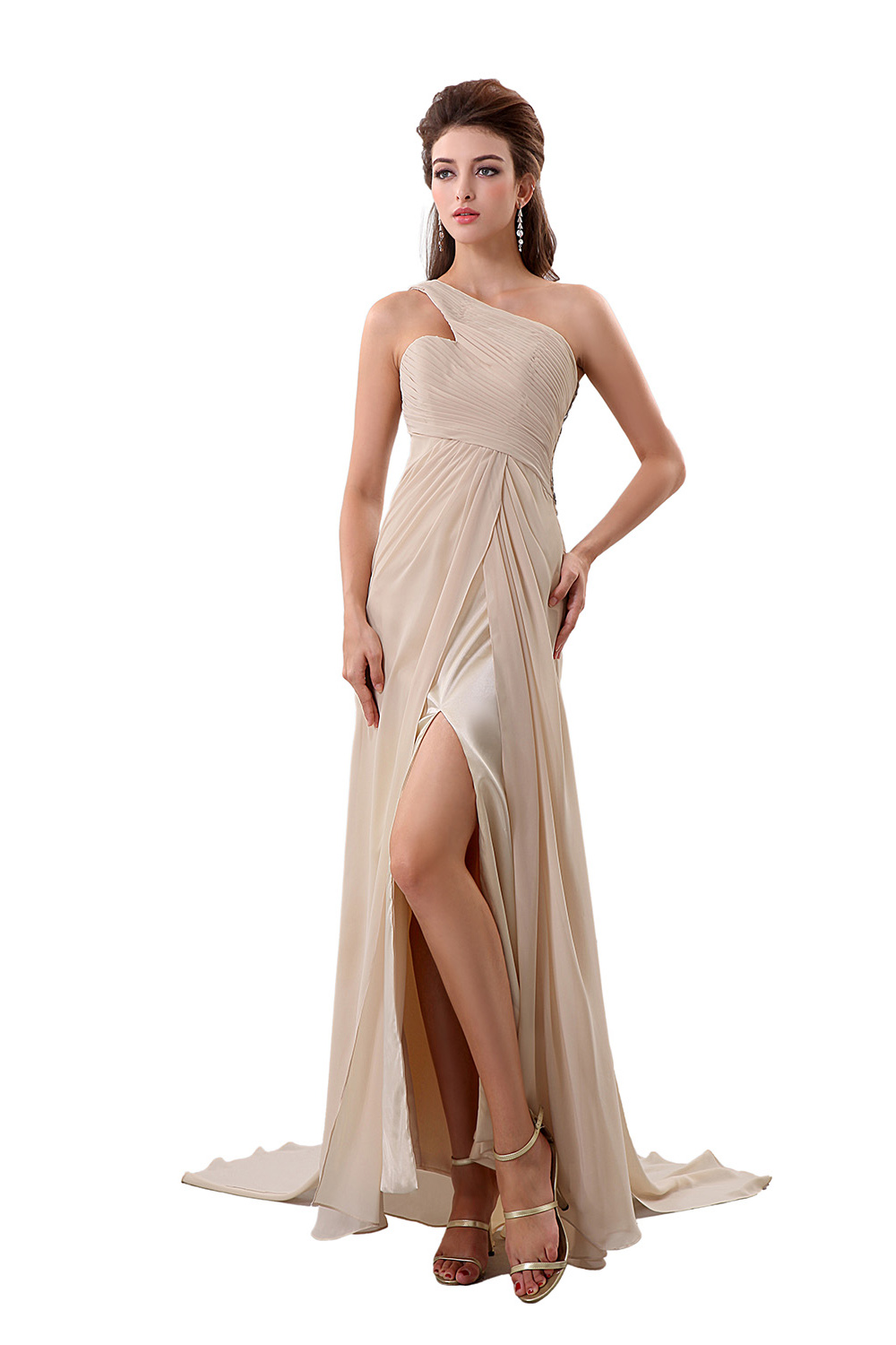 A-line One Shoulder Floor-length Chiffon Evening Dress