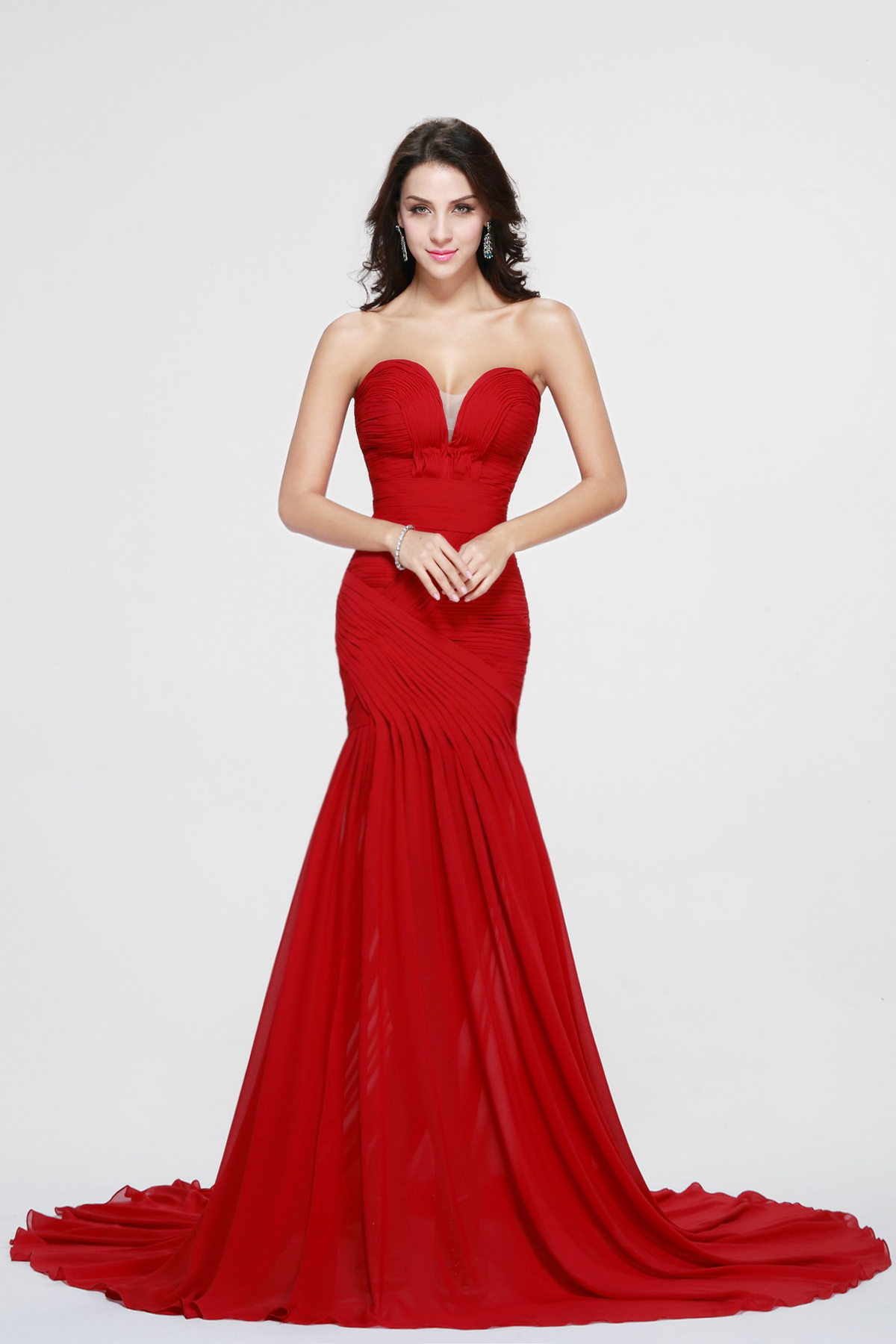 Sheath/Column Sweetheart Court Train Chiffon Prom Dress