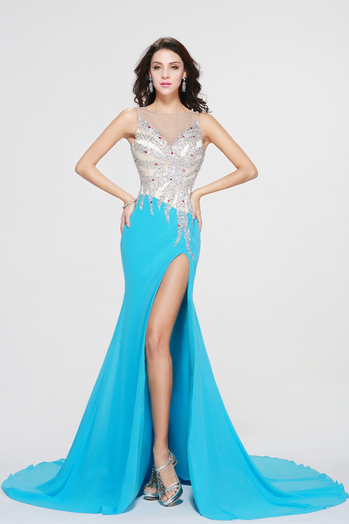 Trumpet/Mermaid Scoop Court Train Chiffon Prom Dress