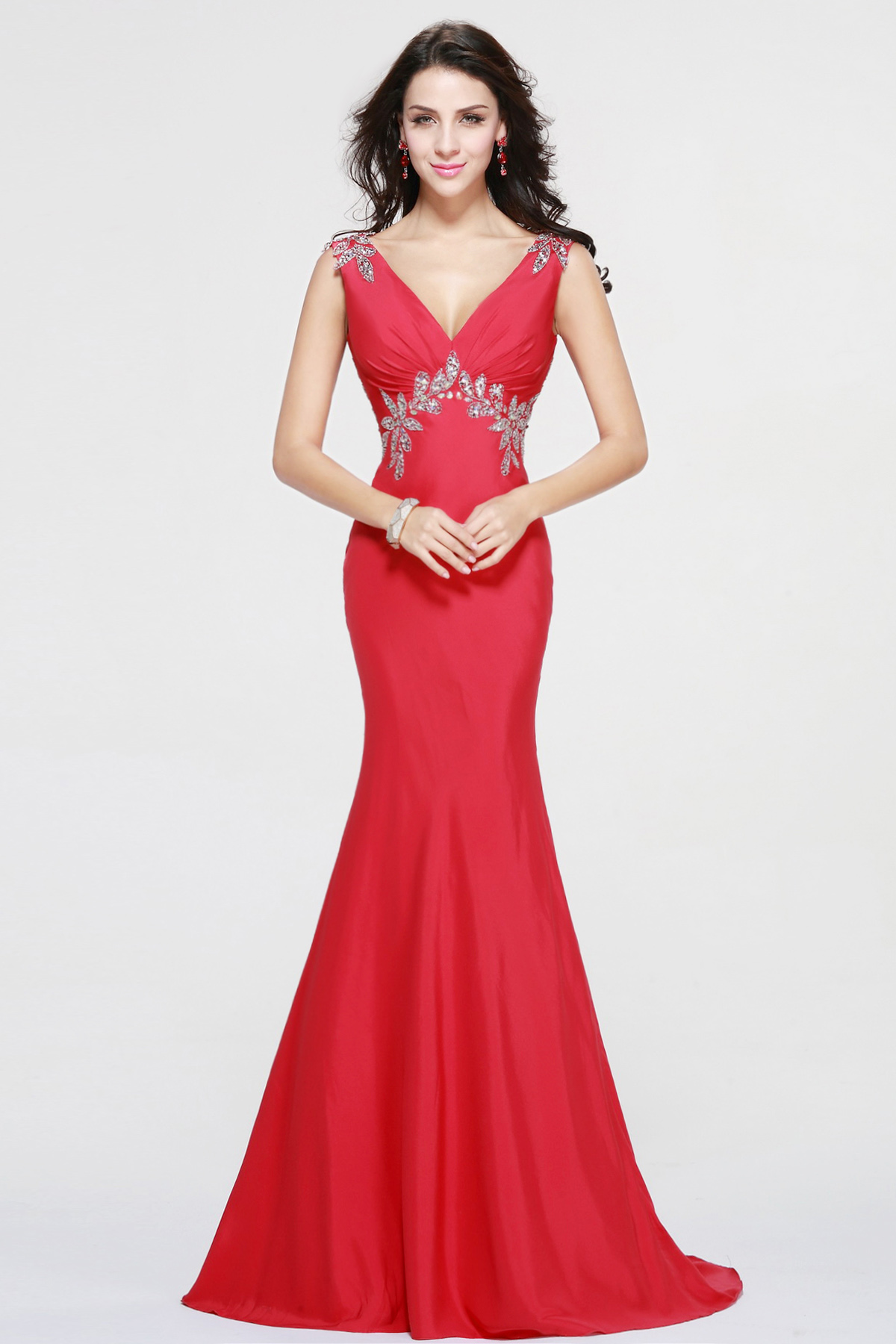 Trumpet/Mermaid V-neck Sweep/Brush Train Taffeta Evening Dress