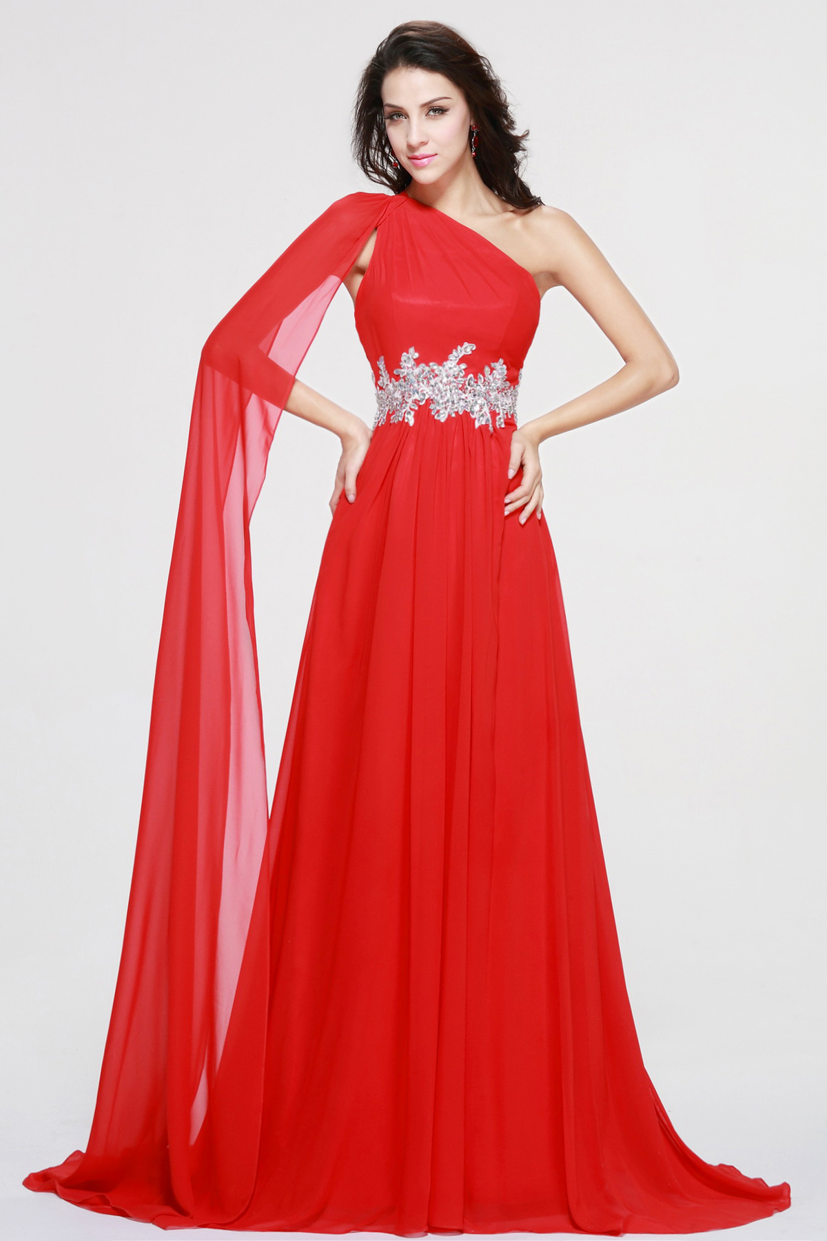 A-line One Shoulder Sweep/Brush Train Chiffon Evening Dress