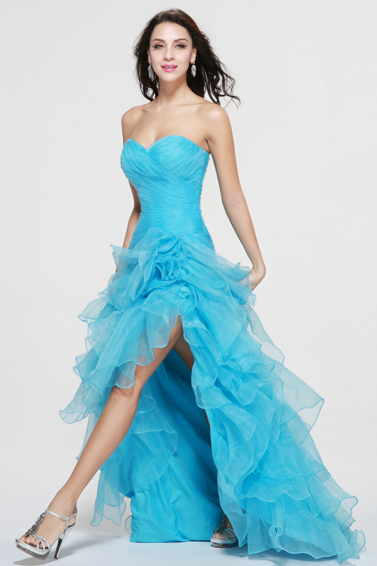 Sheath/Column Sweetheart Asymmetrical Organza Prom Dress