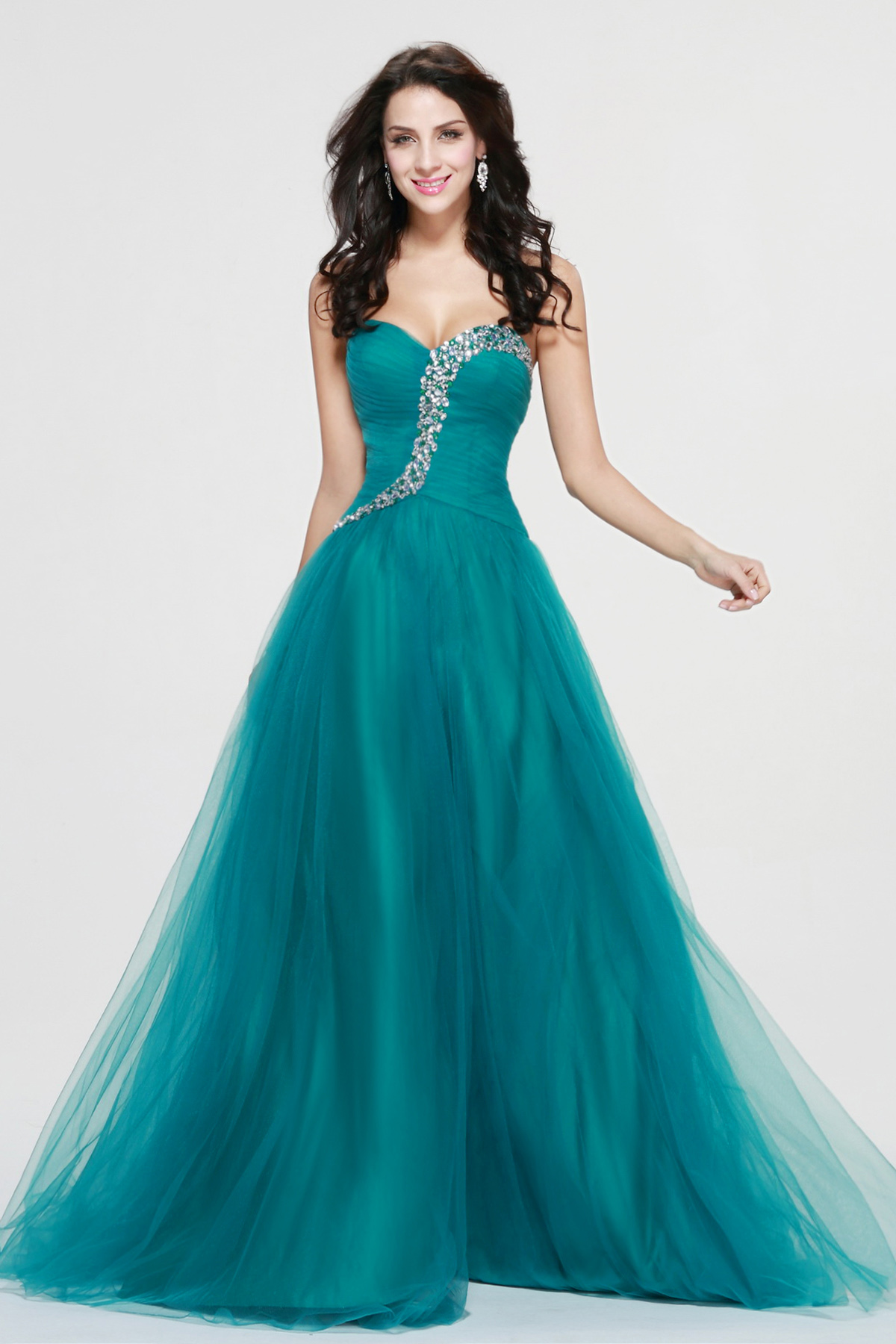 A-line Sweetheart Floor-length Tulle Evening Dress