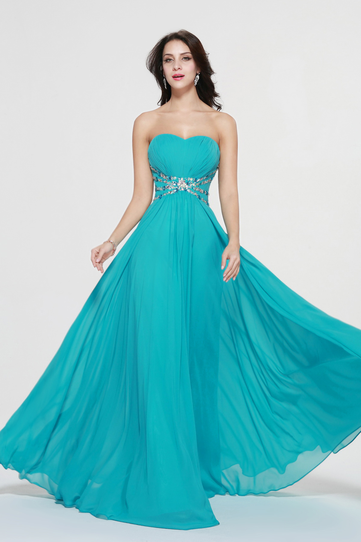 A-line Sweetheart Floor-length Chiffon Evening Dress