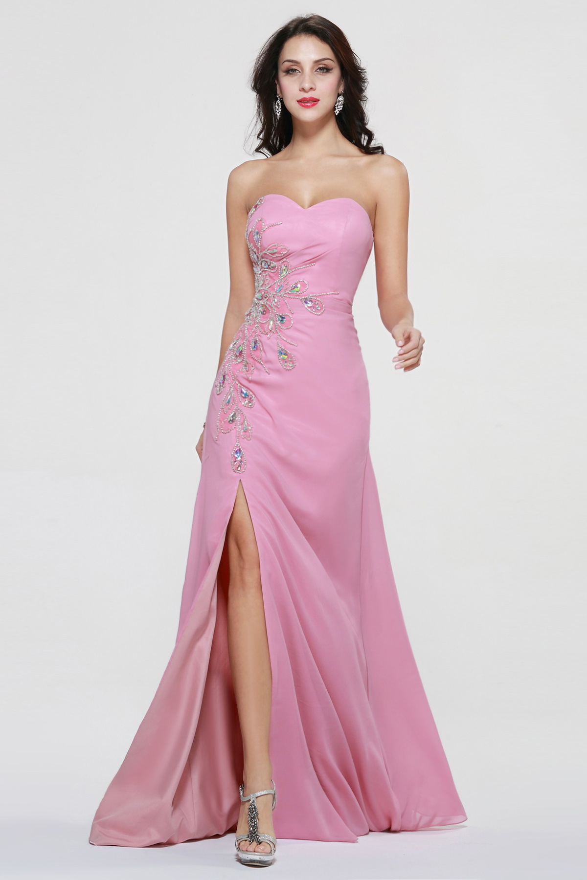 A-line Sweetheart Sweep/Brush Train Chiffon Prom Dress