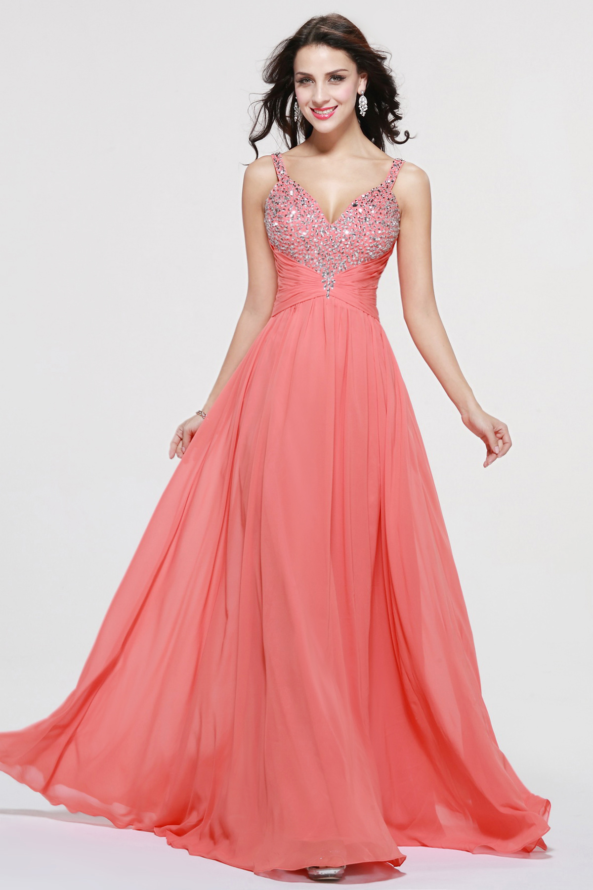 A-line V-neck Floor-length Chiffon Prom Dress