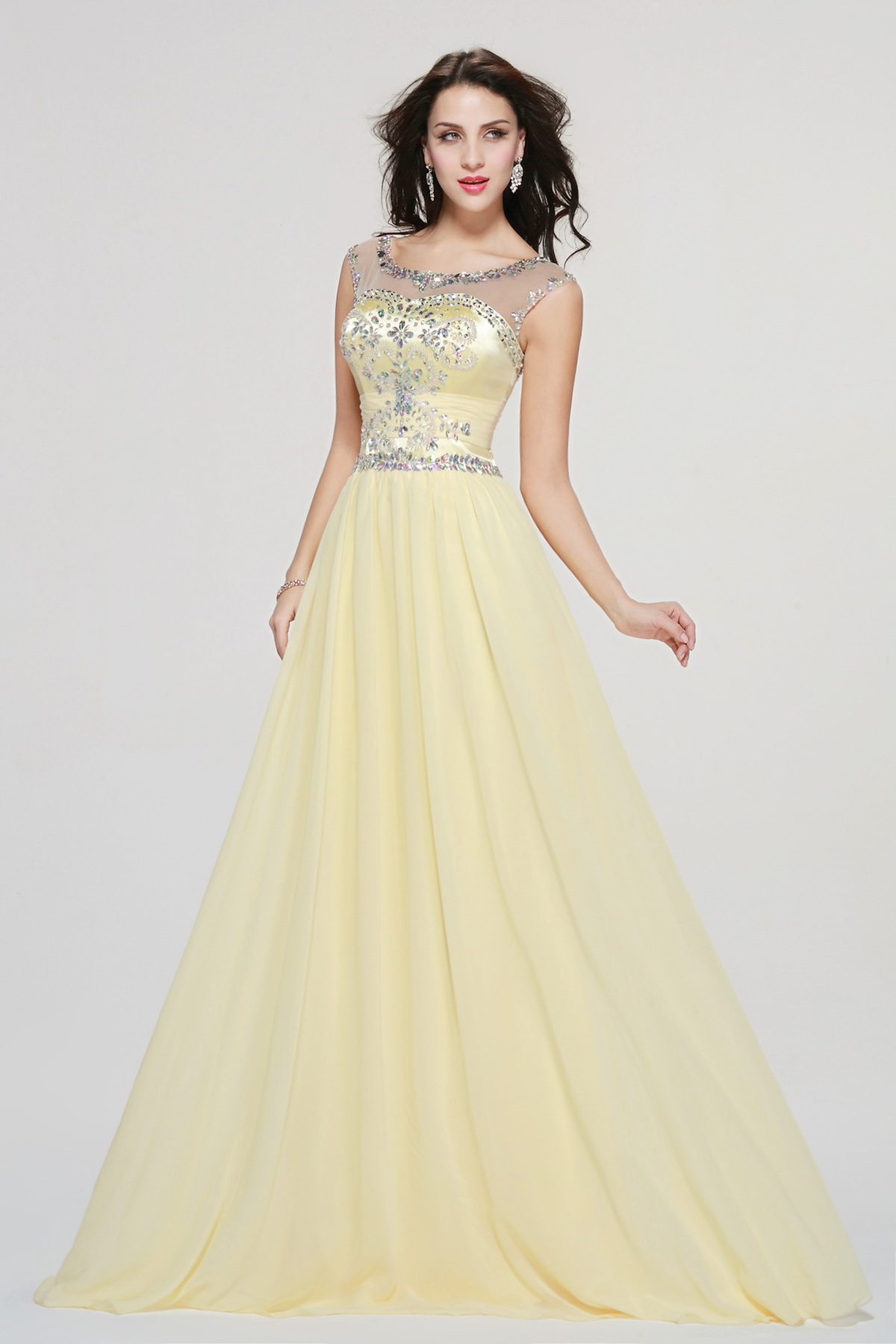 A-line Bateau Ankle-length Chiffon Prom Dress