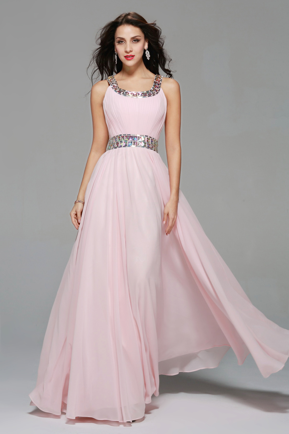 A-line Square Floor-length Chiffon Evening Dress
