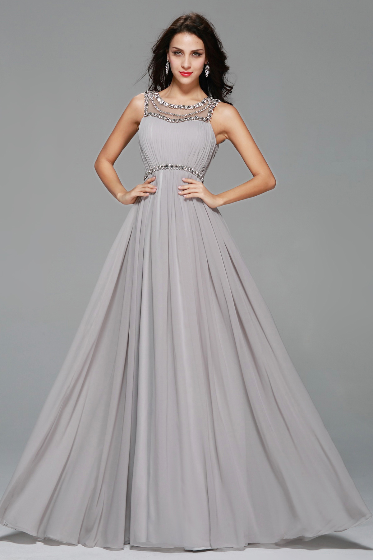 A-line Scoop Floor-length Chiffon Evening Dress