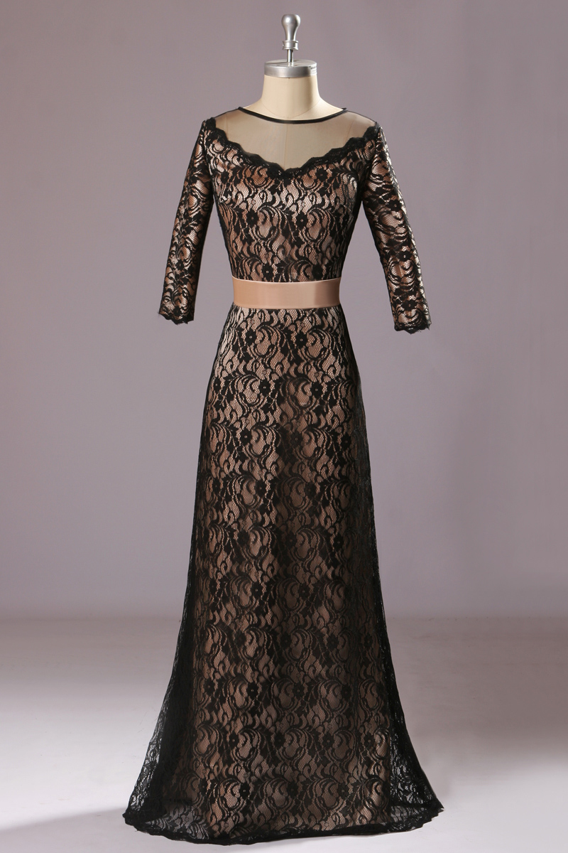 Sheath/Columnn Scoop Floor-length Lace Evening Dress