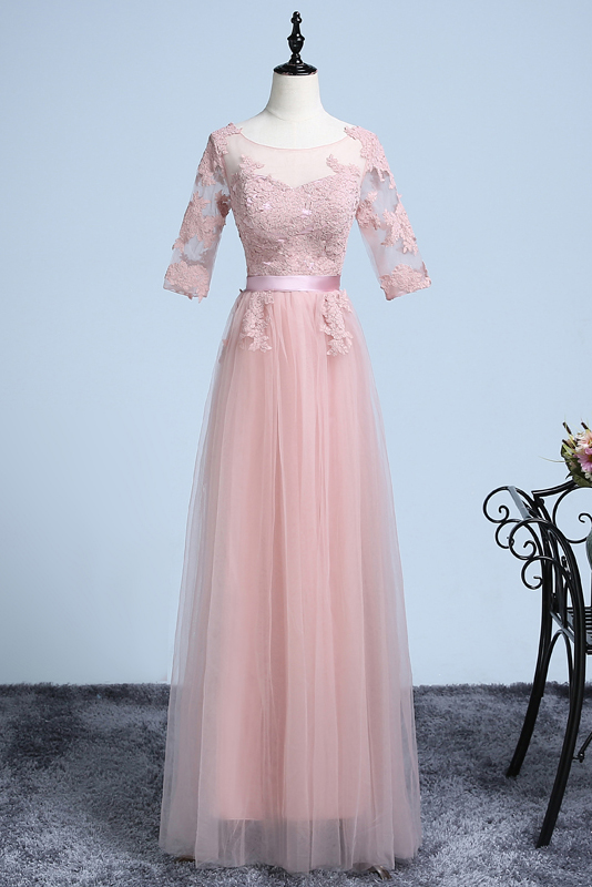 A-line Bateau Floor-length Tulle Evening Dress