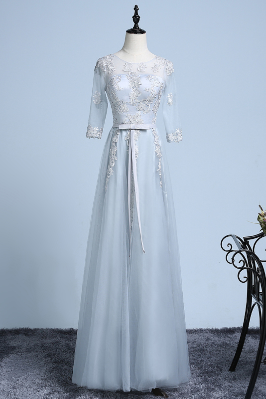 A-line Scoop Floor-length Tulle Evening Dress