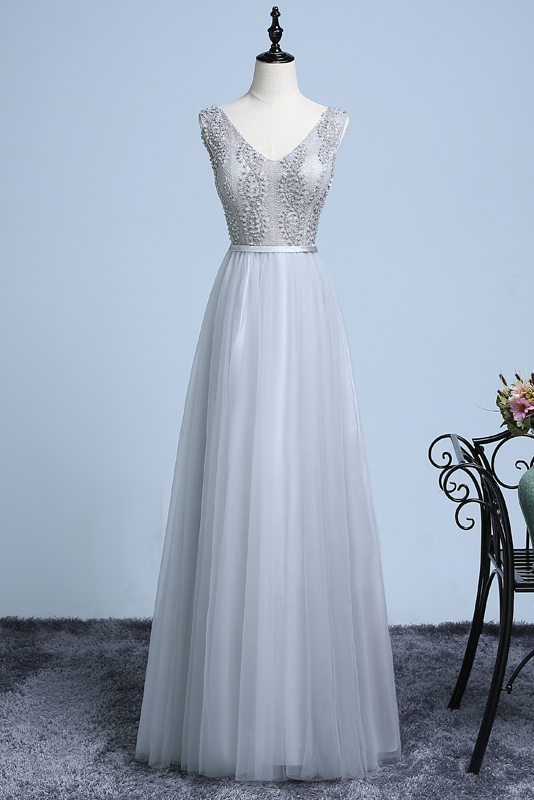 A-line V-neck Floor-length Tulle Prom Dress