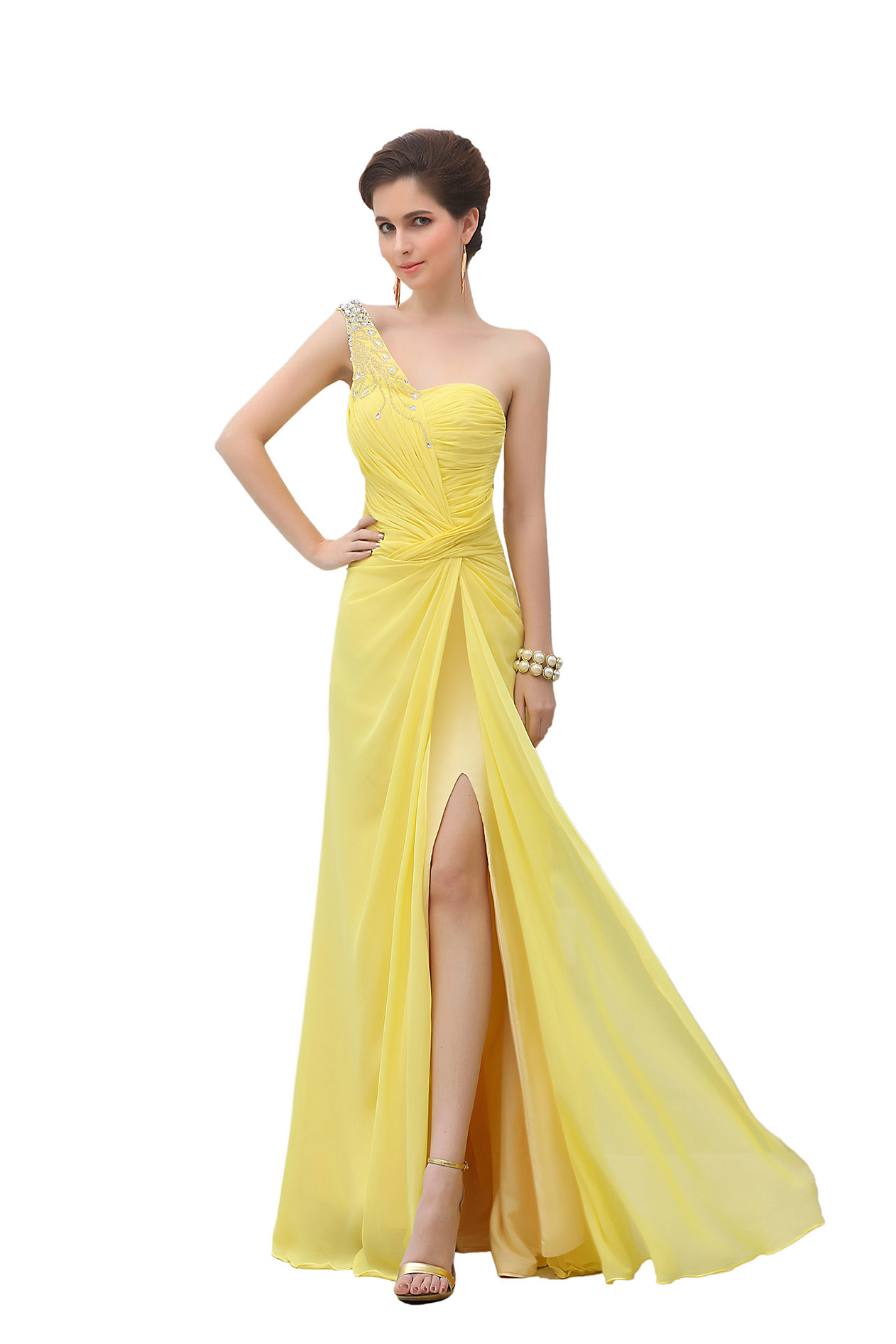 Sheath/Columnn One Shoulder Sweep/Brush Train Chiffon Prom Dress