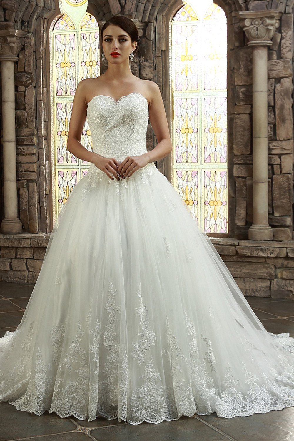 A-line Scalloped-Edge Sweep/Brush Train Tulle Wedding Dress