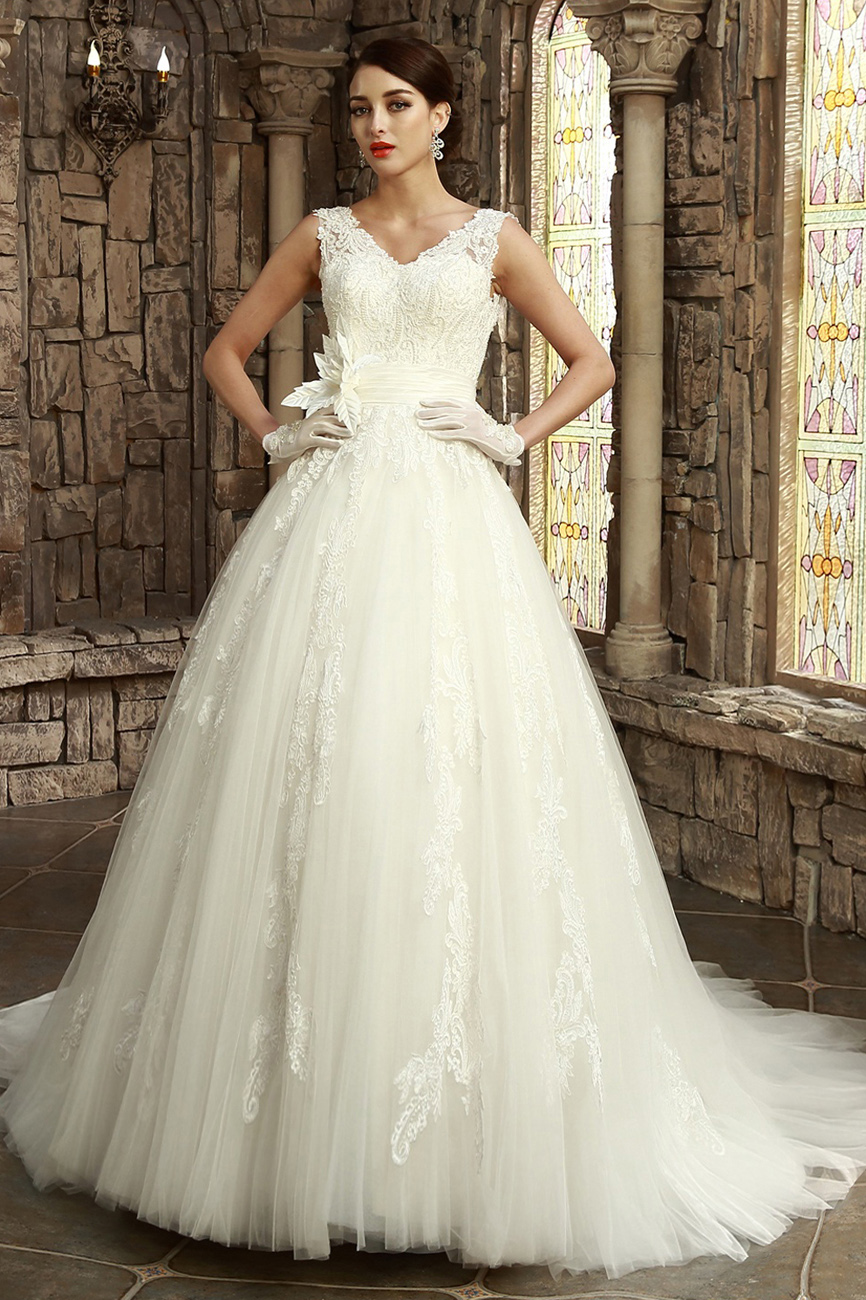 A-line V-neck Sweep/Brush Train Lace Wedding Dress
