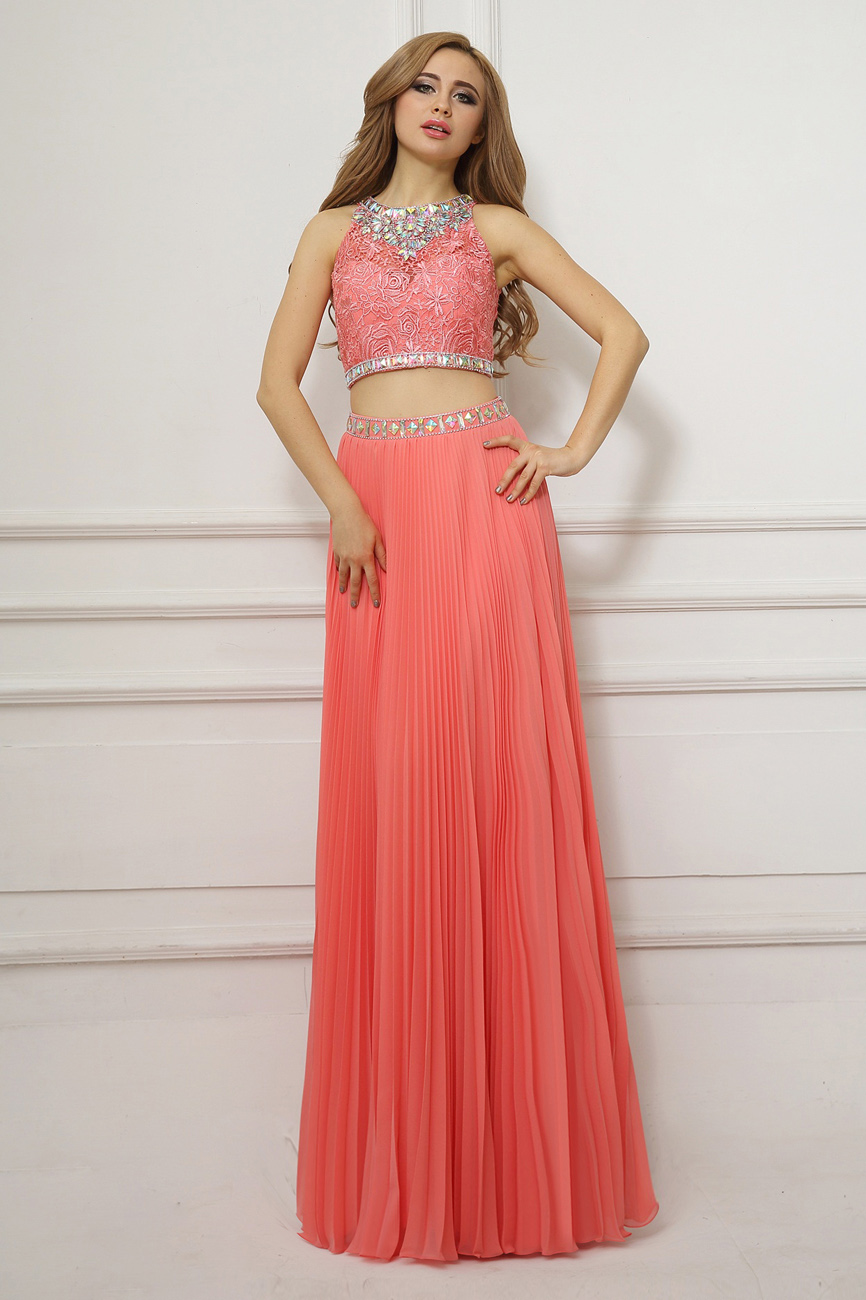 A-line Jewel Floor-length Chiffon Prom Dress