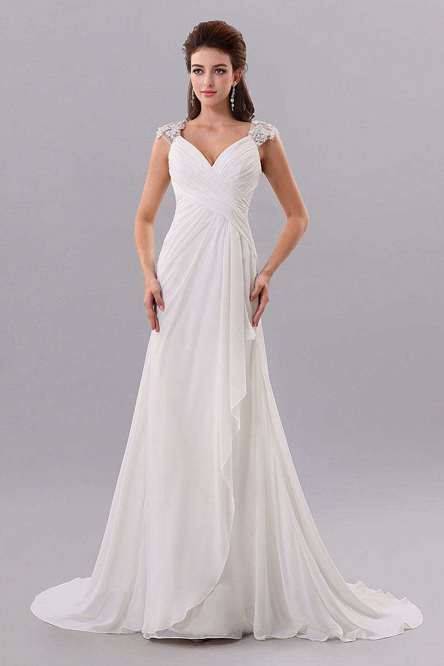 Sheath/Column V-neck Sweep/Brush Train Chiffon Wedding Dress