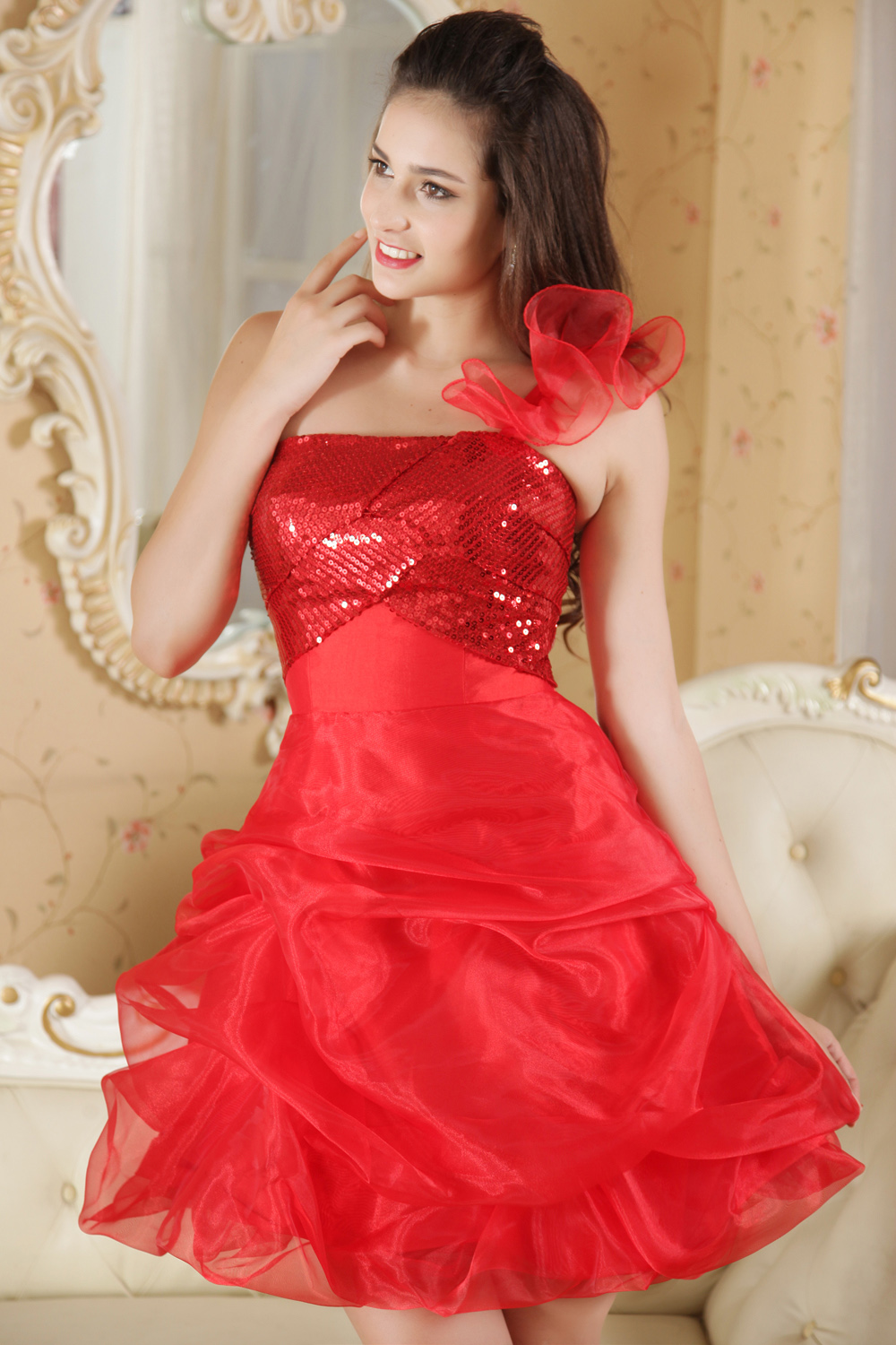 A-line Strapless Short/Mini Organza Prom Dress