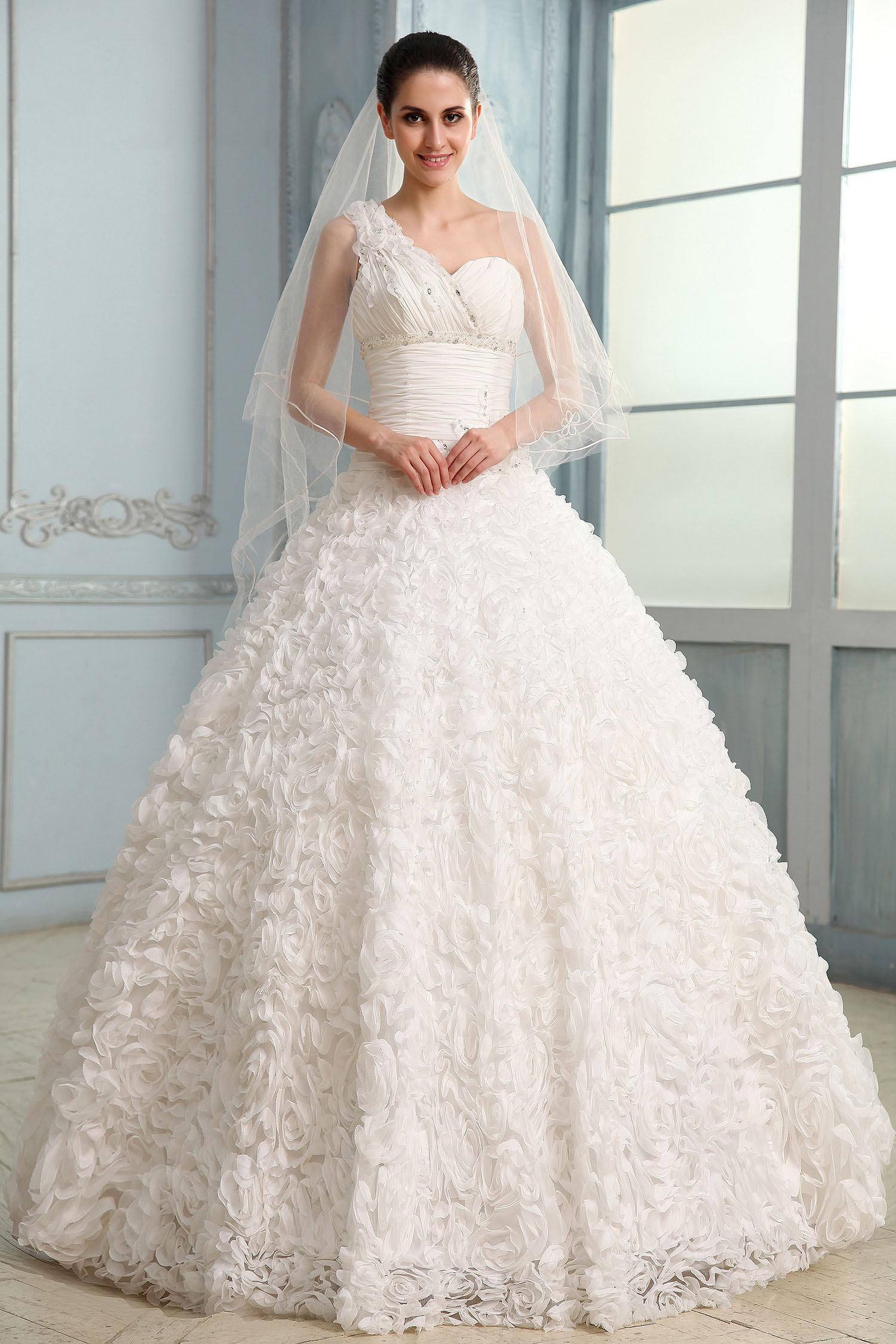 Ball Gown One Shoulder Sweep/Brush Train Lace Wedding Dress