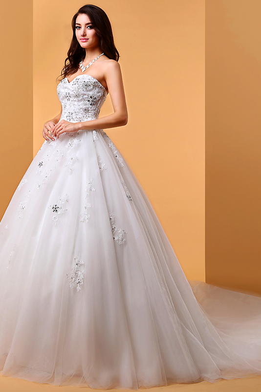 Ball Gown Sweetheart Court Train Tulle Wedding Dress