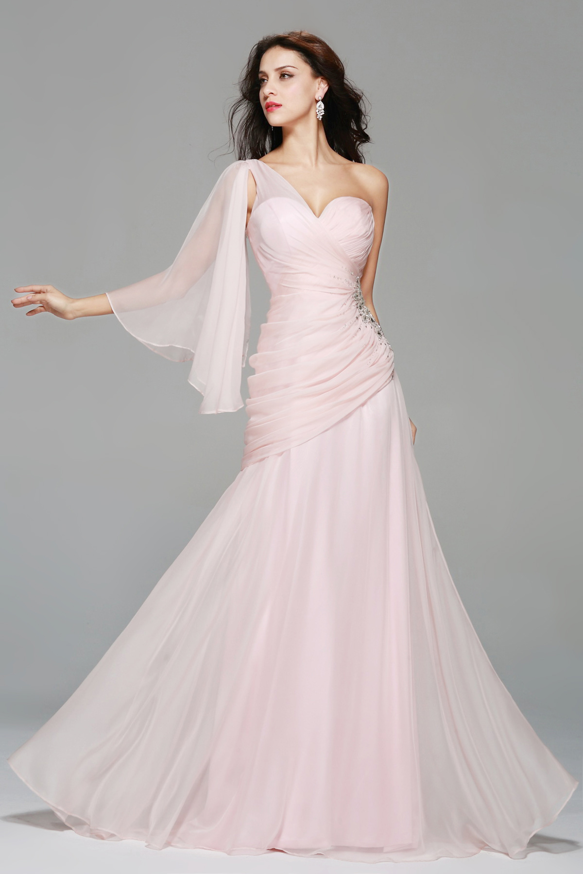A-line One Shoulder Floor-length Chiffon Prom Dress