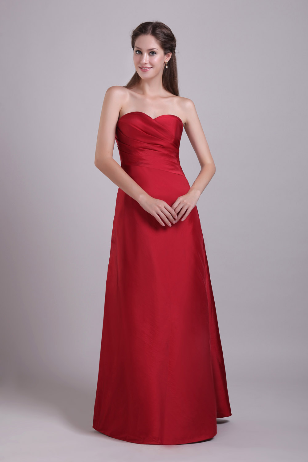 A-line Sweetheart Floor-length Satin Evening Dress