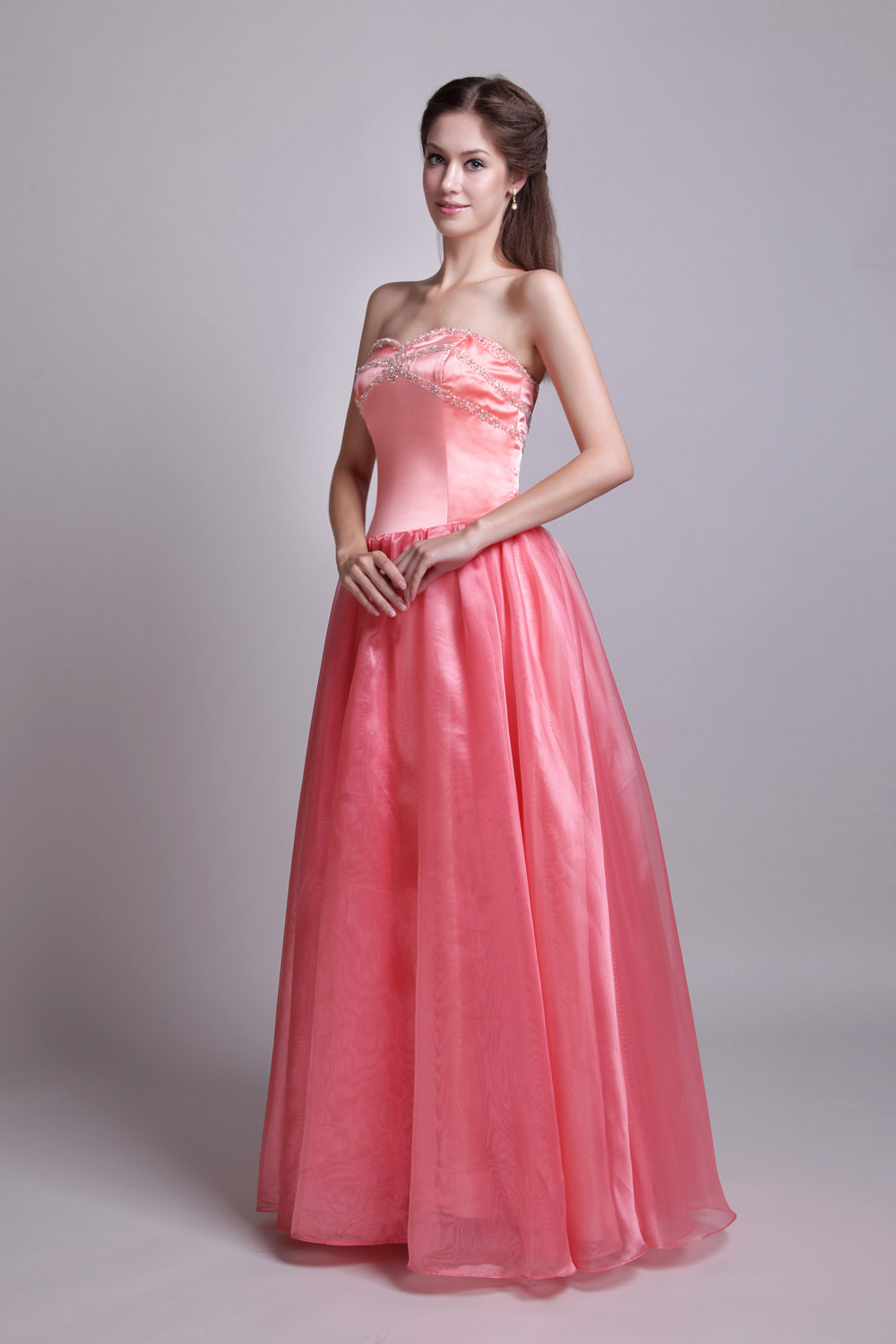 A-line Sweetheart Floor-length Organza Satin Prom Dress