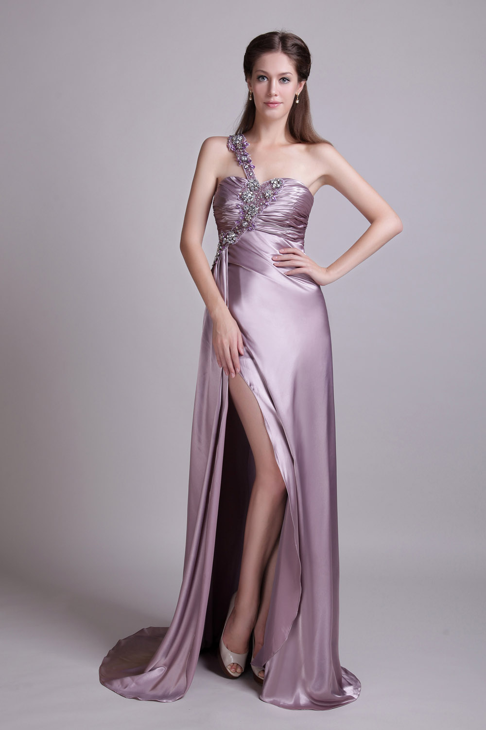 A-line One Shoulder Sweep/Brush Train Satin Evening Dress