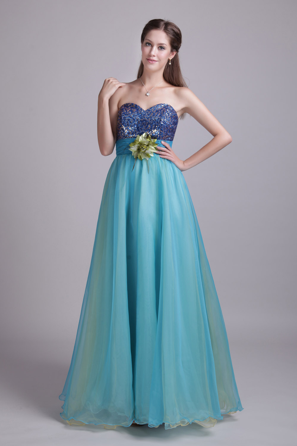 A-line Sweetheart Floor-length Sequins Tulle Prom Dress