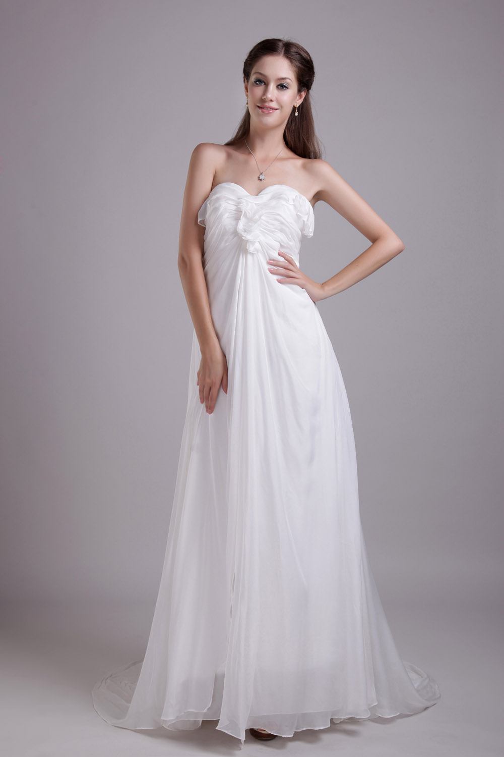 A-line Sweetheart Sweep/Brush Train Chiffon Evening Dress