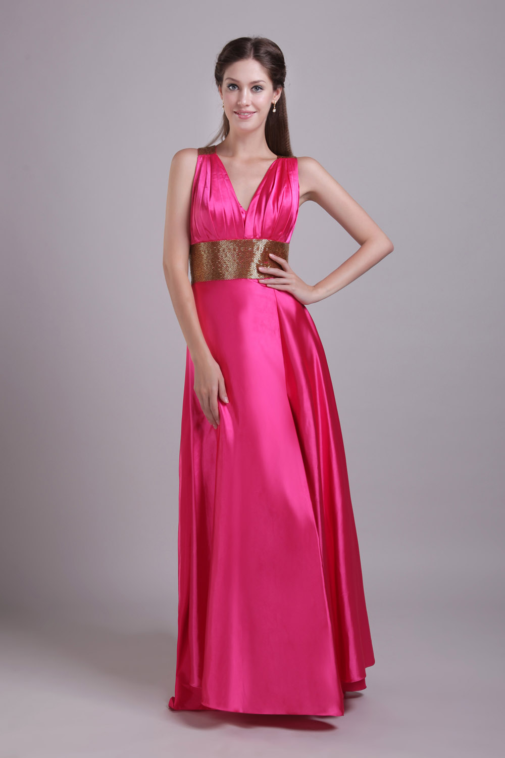 A-line V-neck Floor-length Satin Prom Dress