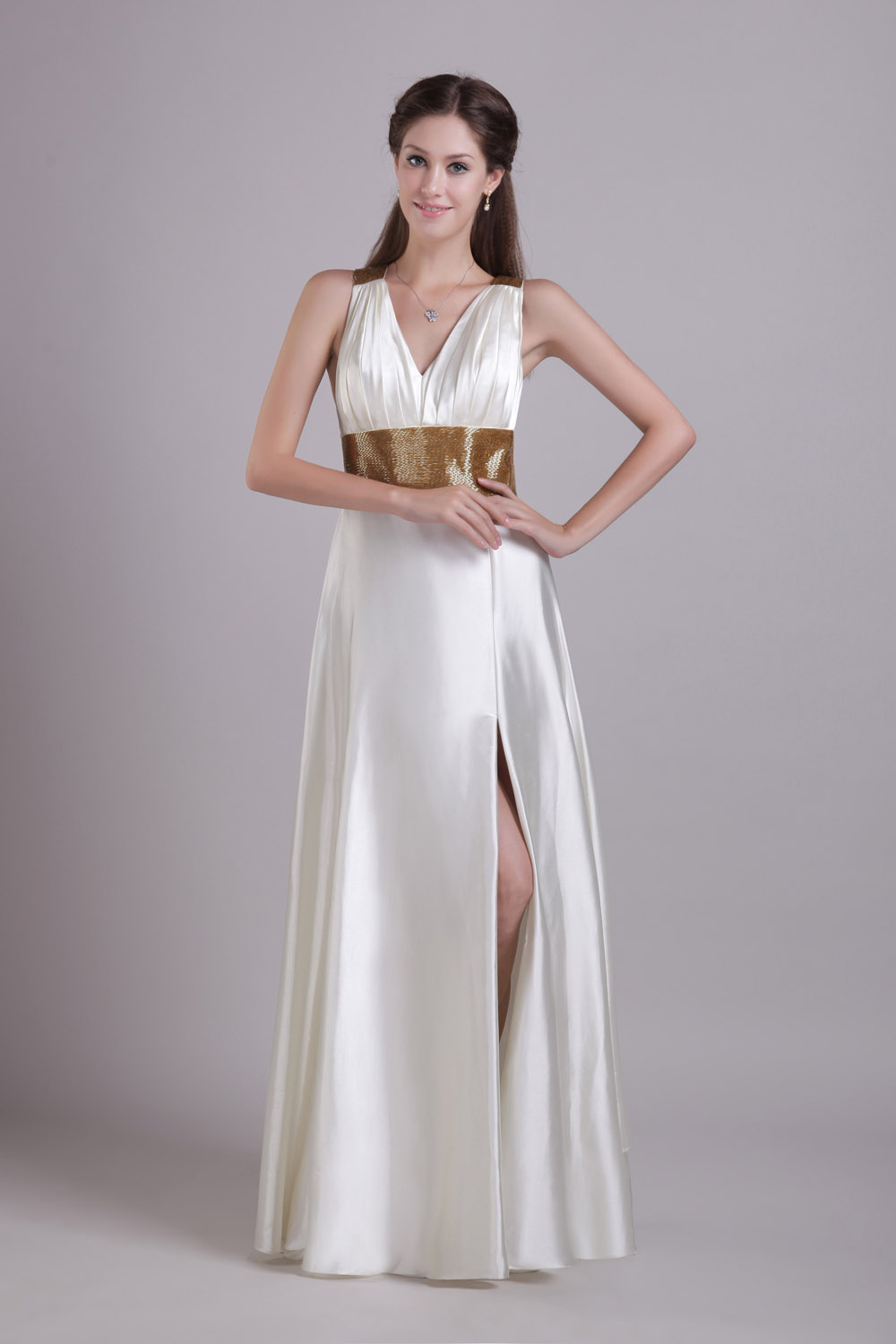 A-line Spaghetti Straps Floor-length Chiffon Evening Dress