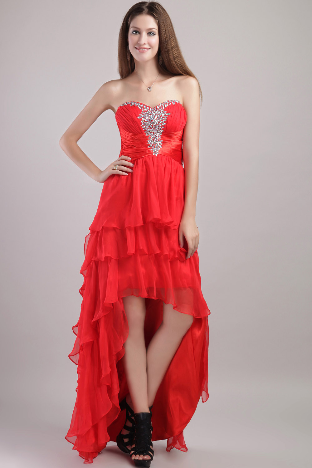 A-line Spaghetti Straps Ankle-length Organza Evening Dress