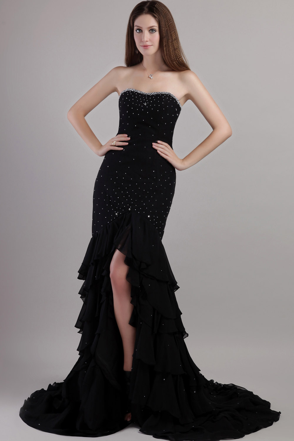 A-line Strapless Floor-length Chiffon Taffeta Prom Dress