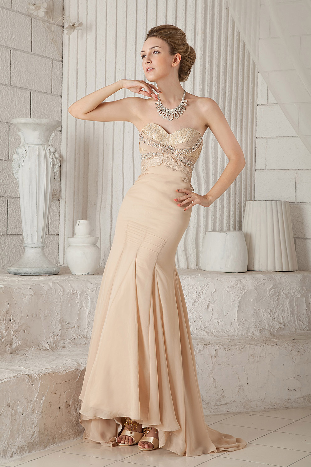 Sheath/Column A-line Sweetheart Sweep/Brush Train Chiffon Prom Dress
