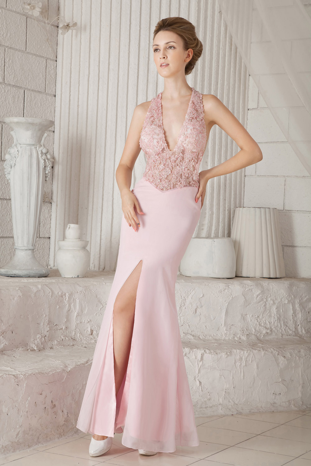 Trumpet/Mermaid Sheath/Column V-neck Sweep/Brush Train Satin Evening Dress