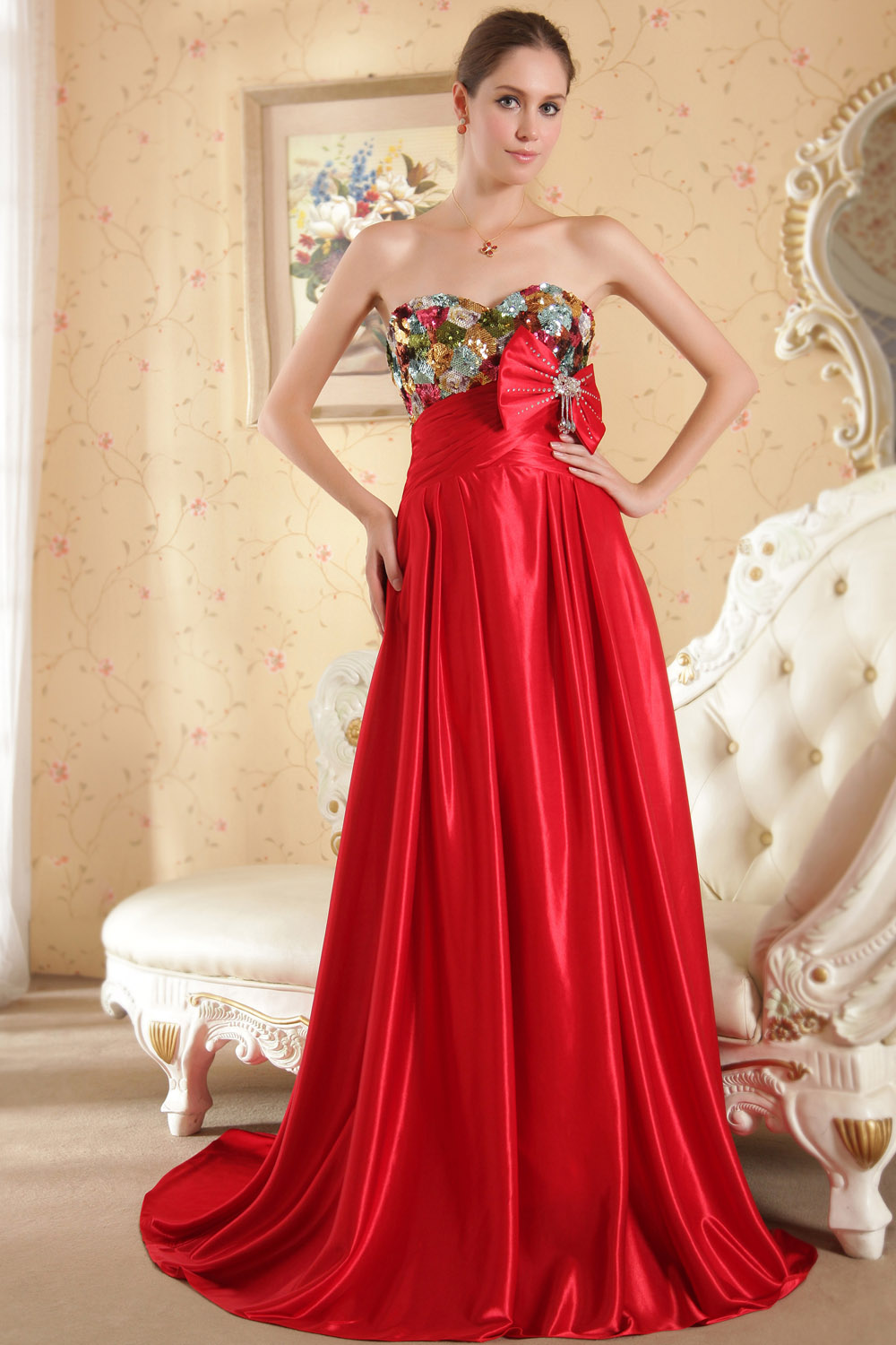 A-line Bateau Sweep/Brush Train Chiffon Evening Dress