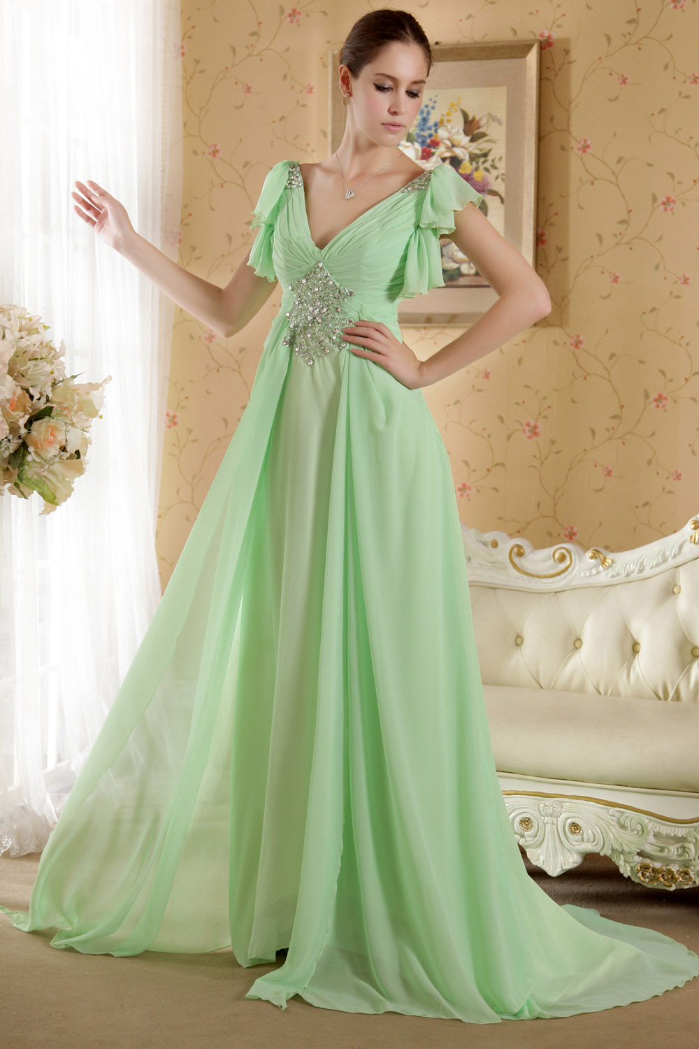 Sheath/Column One Shoulder Floor-length Chiffon Prom Dress