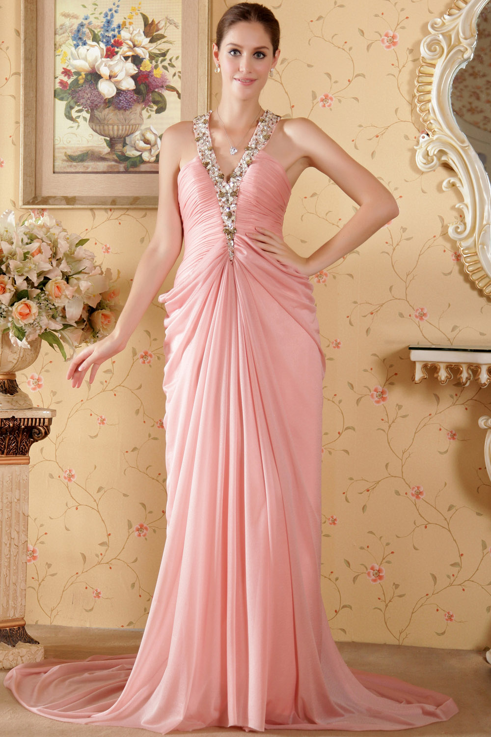A-line One Shoulder Sweep/Brush Train Satin Prom Dress