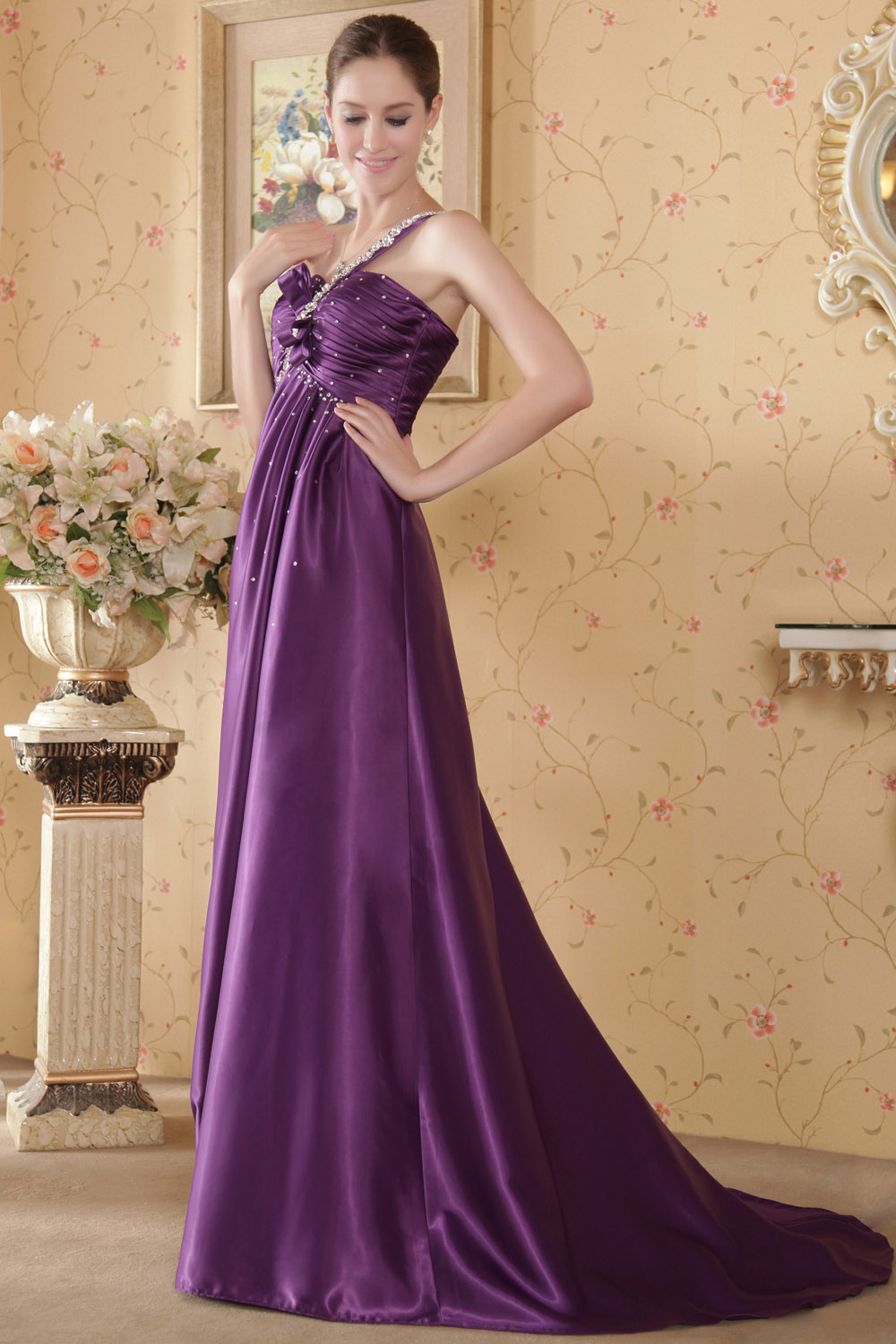 A-line V-neck Sweep/Brush Train Chiffon Prom Dress