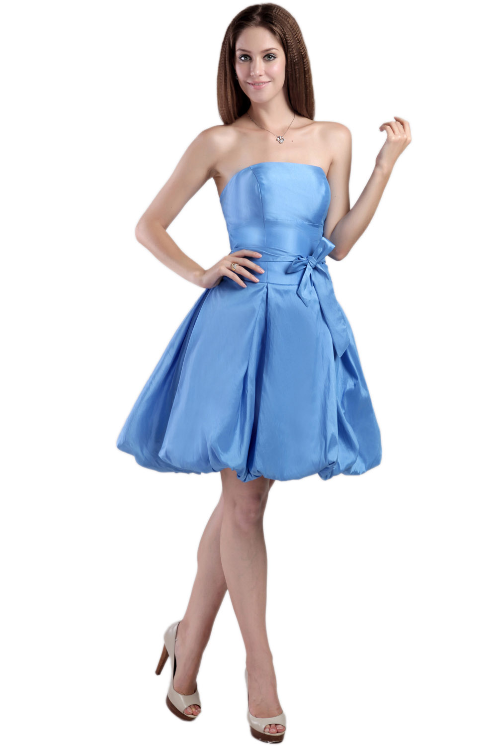 A-line Strapless Short/Mini Chiffon Prom Dress