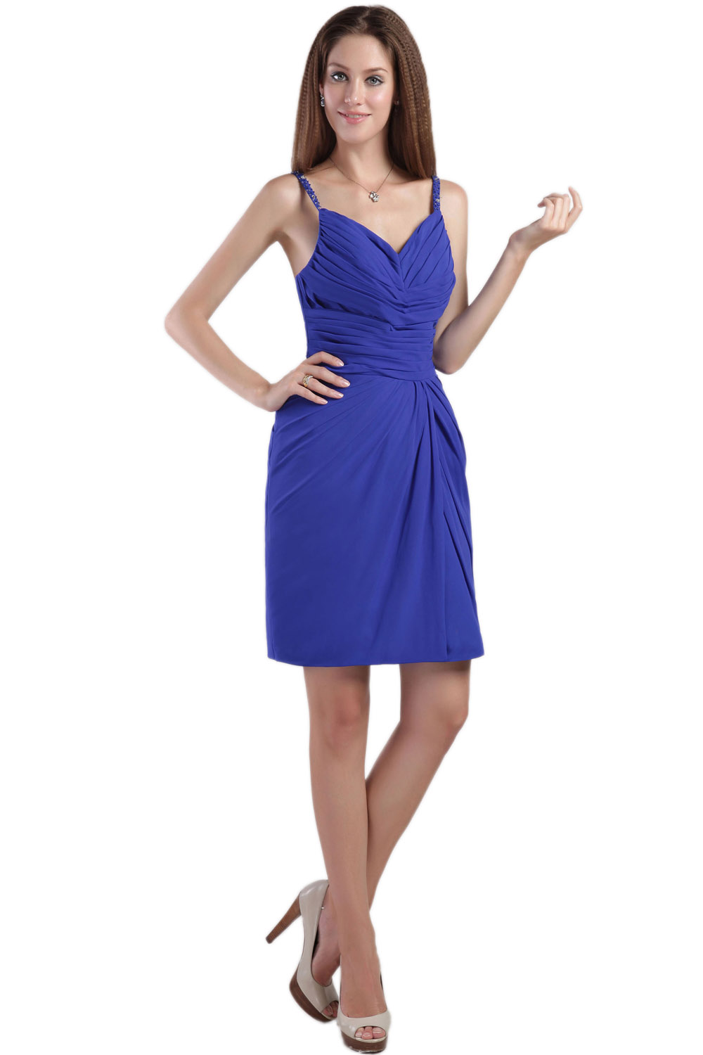 A-line V-neck Tea-length Satin Homecoming Dress