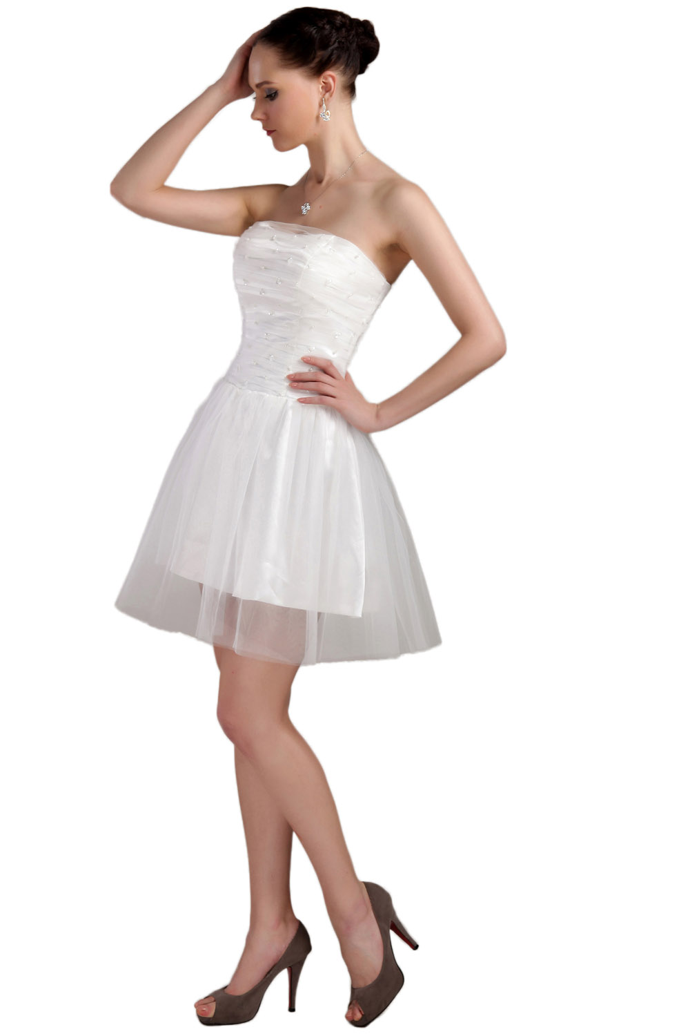 Princess Strapless Short/Mini Organza Prom Dress